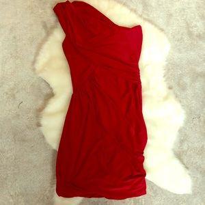 Aqua Ruched Red One Shoulder Dress